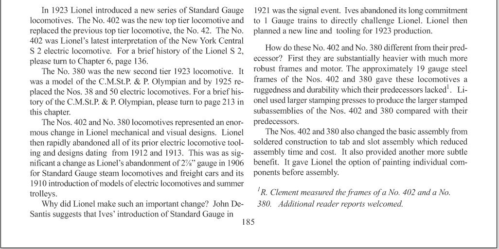 Greenberg Lionel Standard Chap 7, page 185